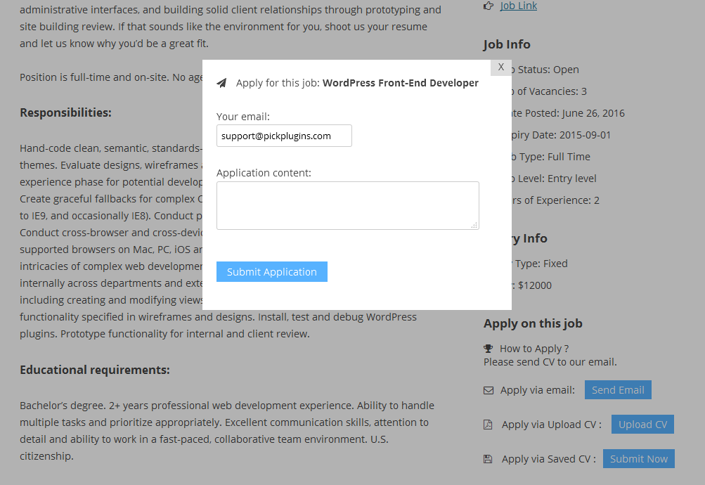 how to send an email to apply for a job